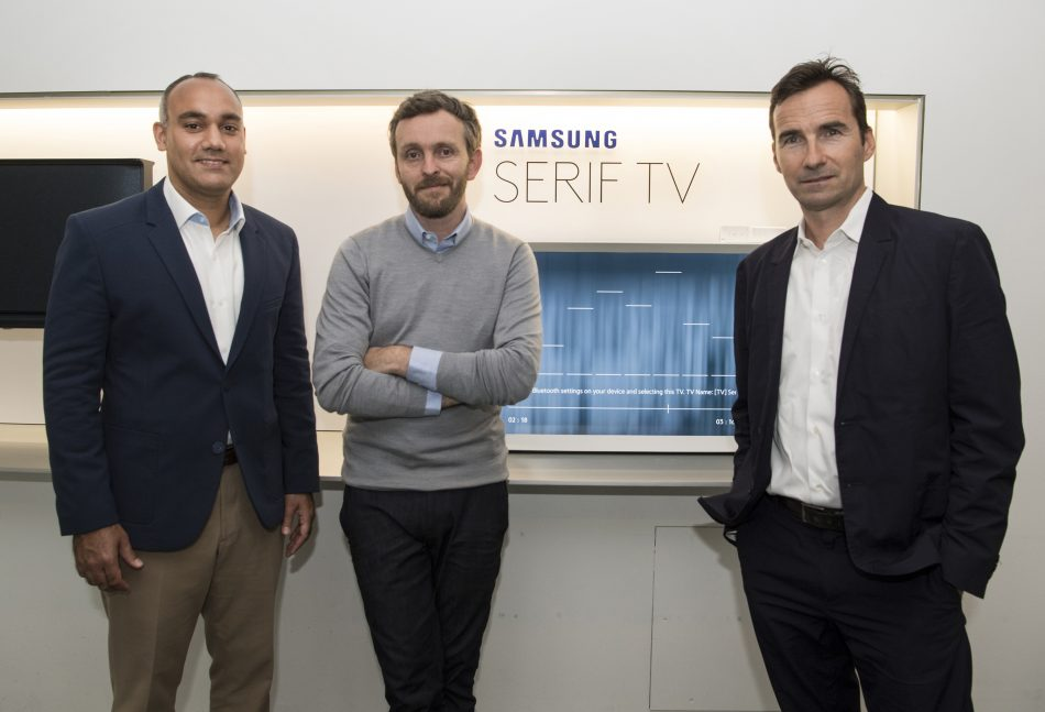 Samsung's Dave Das, The Museum of Modern Art's Emmanuel Plat and designer Erwan Bouroullec introduced the SERIF TV to the U.S. on July 13, 2016. The SERIF TV was created in collaboration with the acclaimed Parisian designers Ronan & Erwan Bouroullec. Contact info: Tara Lieberman, PMK*BNC on behalf of Samsung, 212-373-6123