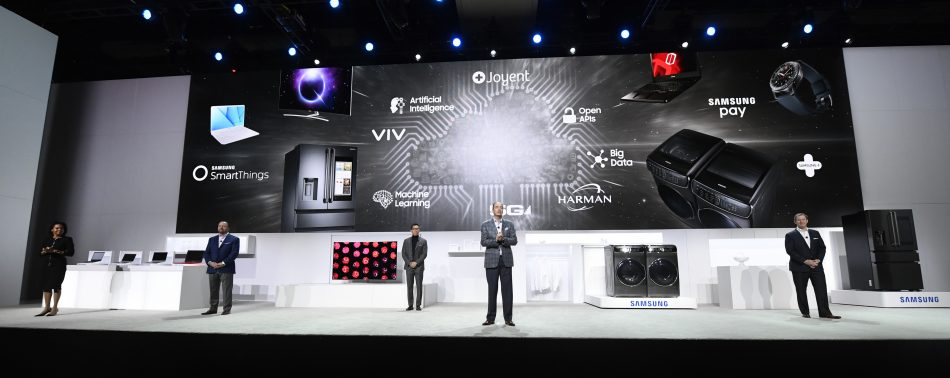 Samsung executives join President and COO of Samsung Electronics America Tim Baxter on stage to close out the Samsung press conference at CES 2017.