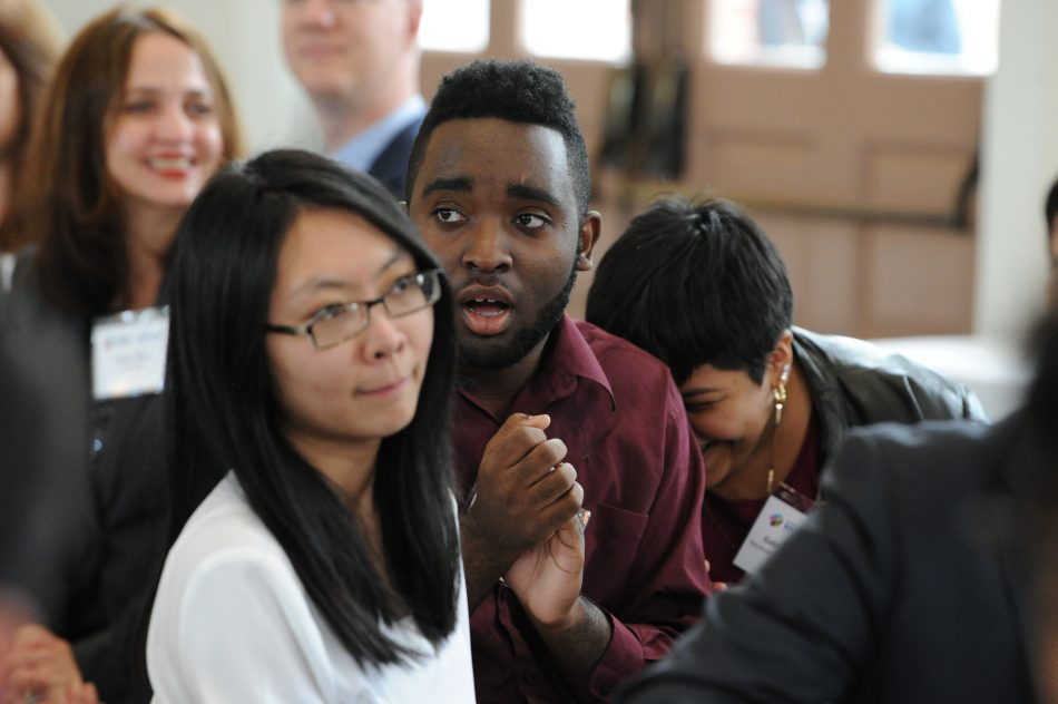 Students Xiaoling Liang, Louric Rankine and Gabriella Florencio of The Secondary School For Journalism in Brooklyn, N.Y. react to hearing their school being named a 2017 national winner in the Samsung Solve For Tomorrow Contest during a ceremony in Washington, DC on Tuesday, April 25, 2017.