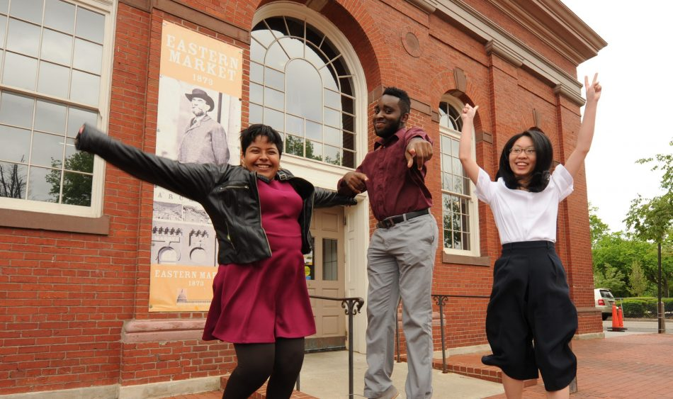 Students Gabriella Florencio, Louric Rankine and Xiaoling Liang at The Secondary School For Journalism in Brooklyn, N.Y. celebrate being named one of the three national winners in the Samsung Solve for Tomorrow Contest while in Washington, DC on Wednesday, April 26, 2017