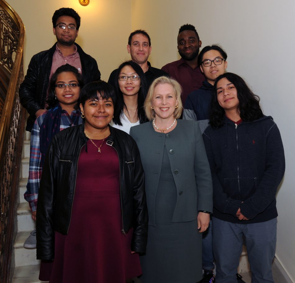 Secondary School For Journalism students meet Senator Kristin Gillibrand while in Washington, DC on Wednesday, April 26 for the Samsung Solve for Tomorrow Awards where the school was named a 2017 national winner.