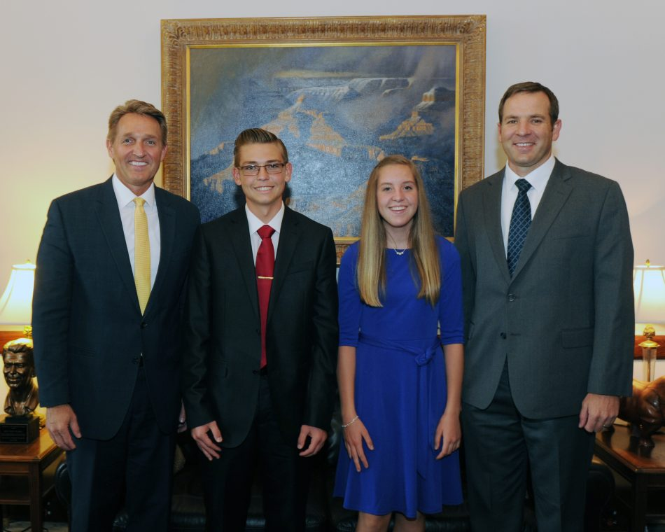 Snowflake Junior High School students Corynn Cottrell and Dylan Neff, and teacher Michael Eilertsen meet Senator Jeff Flake while in Washington, DC on Wednesday, April 26, 2017 for the Samsung Solve for Tomorrow Awards where the school was named a 2017 national winner.