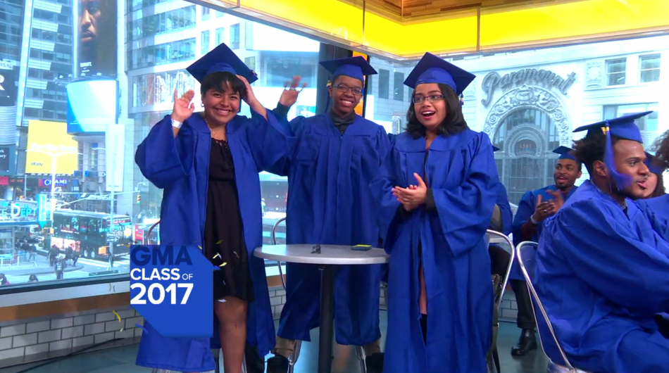 2017 winning students from the Samsung Solve for Tomorrow Contest attend Good Morning America.