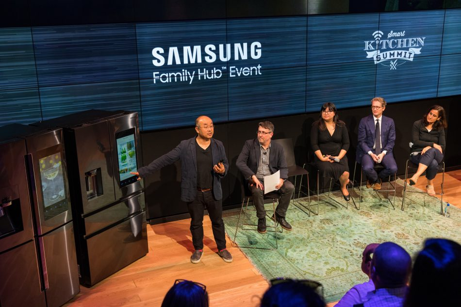 Yoon Lee, Senior Vice President and Head of Product Innovation Team and Content and Services at Samsung Electronics America, speaks about innovative Samsung Family Hub refrigerator during Smart Kitchen Summit.