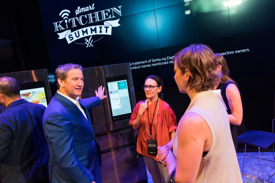 John Herrington, Senior Vice President and General Manager of Home Appliances at Samsung Electronics America, showcases new Samsung Family Hub refrigerator to attendees during Samsung Family Hub 2017 Event and Smart Kitchen Summit.