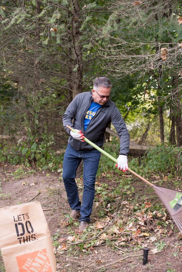 Samsung Electronics America employees beautify and maintain Therapeutic Healing Garden for Children's Aid & Family Services in Ridgewood, NJ.