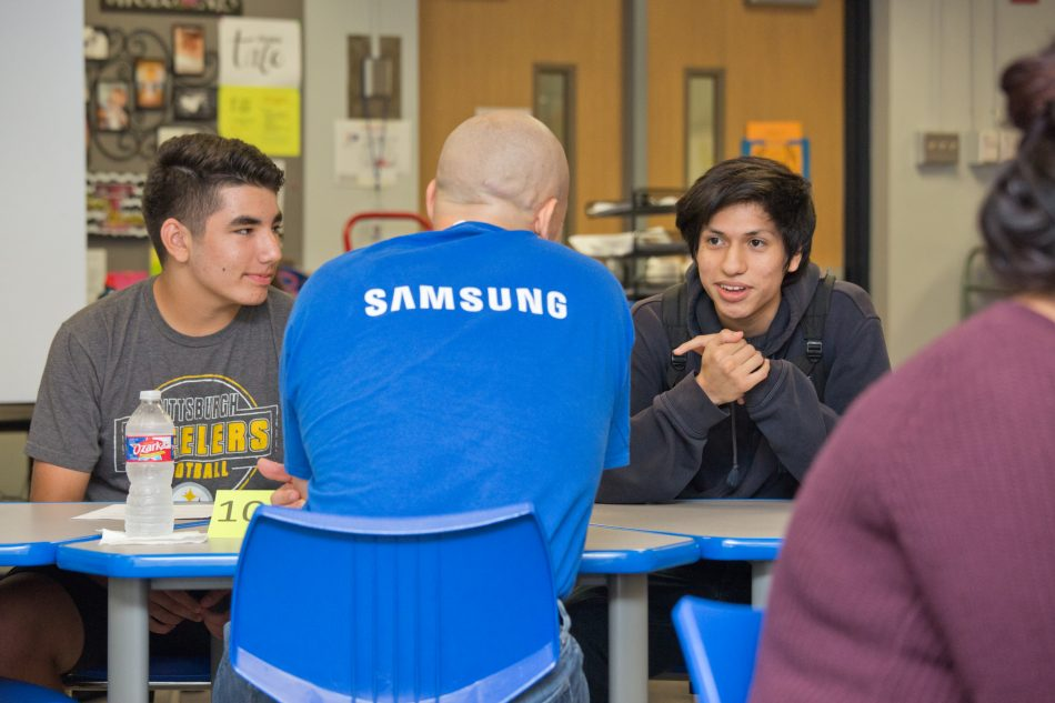 Samsung Electronics America employees participate in speed mentoring sessions focused on Science, Technology, Engineering and Math (STEM) subjects with teens from Tech Titans in Richardson, TX.