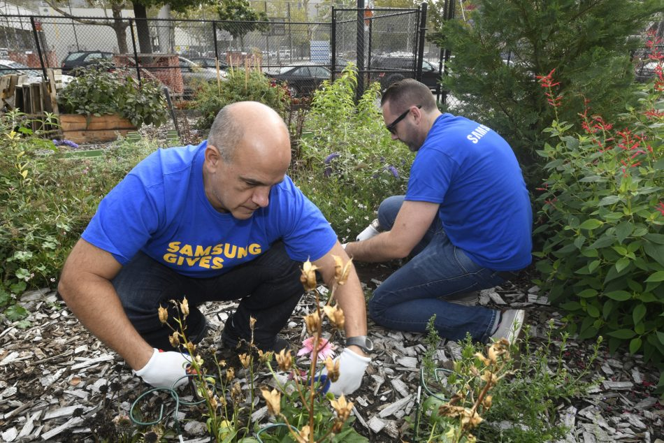Samsung Electronics America employees assist GrowNYC with garden projects to beautify an urban environment in Brooklyn, NY.