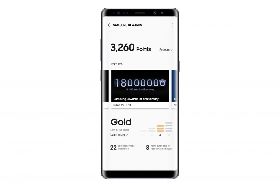 Image of Samsung Rewards on Galaxy Note8