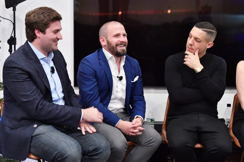 NEW YORK, NY - DECEMBER 11: (L-R) LOreals Rachel Weiss, Oculus's Andy Mathis, and Airbnbs Wren Dougherty speak at the Samsung Gear VR 2nd Anniversary Panel on December 11, 2017 in New York City. (Photo by Dia Dipasupil/Getty Images for Samsung)