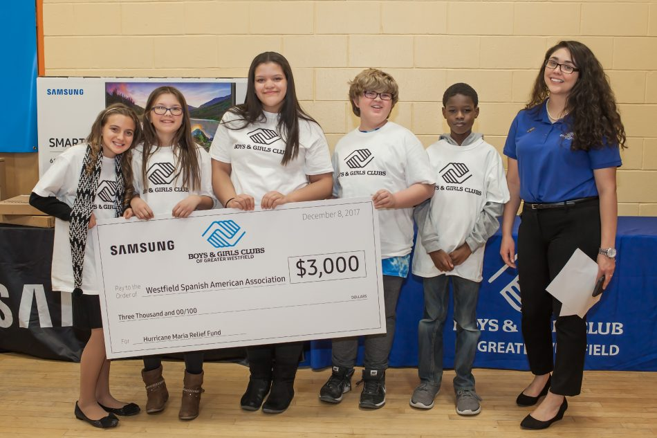 In addition to the $10,000 technology prize, Samsung also awarded $3,000 to the Boys & Girls Club of Greater Westfield to donate to the charity of their choice: The Hurricane Maria Relief Fund via the Westfield Spanish American Association.