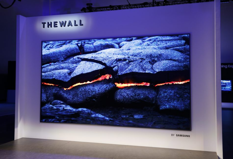 "Samsung's ""The Wall,"" a 146-inch modular TV with MicroLED technology."