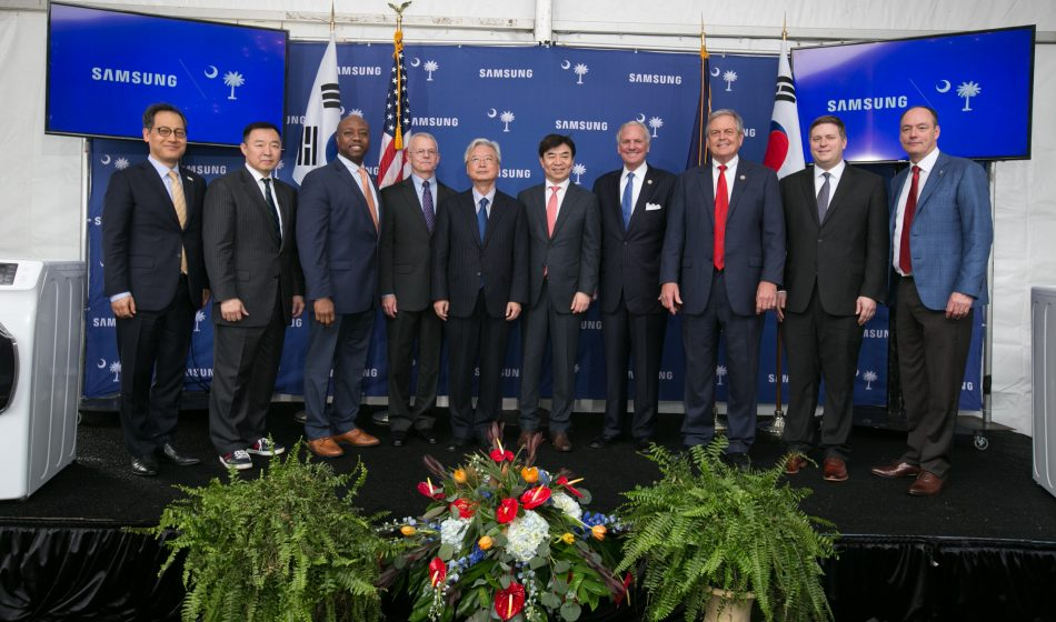 1/12/18 Samsung celebrates the ribbon cutting of the first commercial washers being produced at the Newberry, SC plant. Pictured from left are: Young-jun Kim, Korean Consul General in Atlanta; Joon So, President of Samsung Electronics Home Appliances America; U.S. Senator Tim Scott; Newberry County Administrator Wayne Adams; South Korean Ambassador to the U.S., Yoon-Je Cho; President and Head of Consumer Electronics Division of Samsung Electronics, H.S. Kim; South Carolina Governor Henry McMaster; U.S. Representative Ralph Norman; Deputy Assistant Secretary of Manufacturing at the U.S. Department of Commerce, Ian Steff; President and CEO of Samsung Electronics North America Tim Baxter. Photos by Renee Ittner McManus/RIM Photography