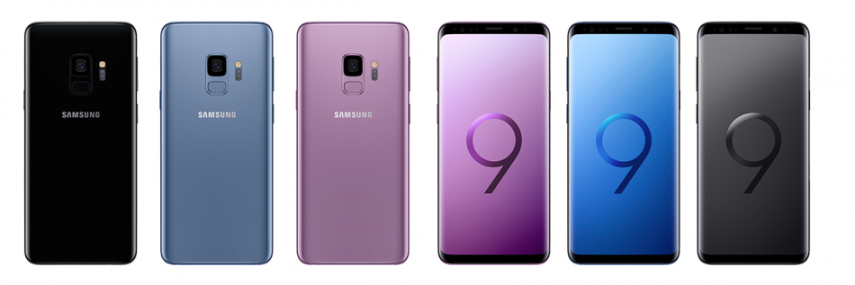 Samsung Galaxy S9 in Lilac Purple, Coral Blue and Midnight Black.