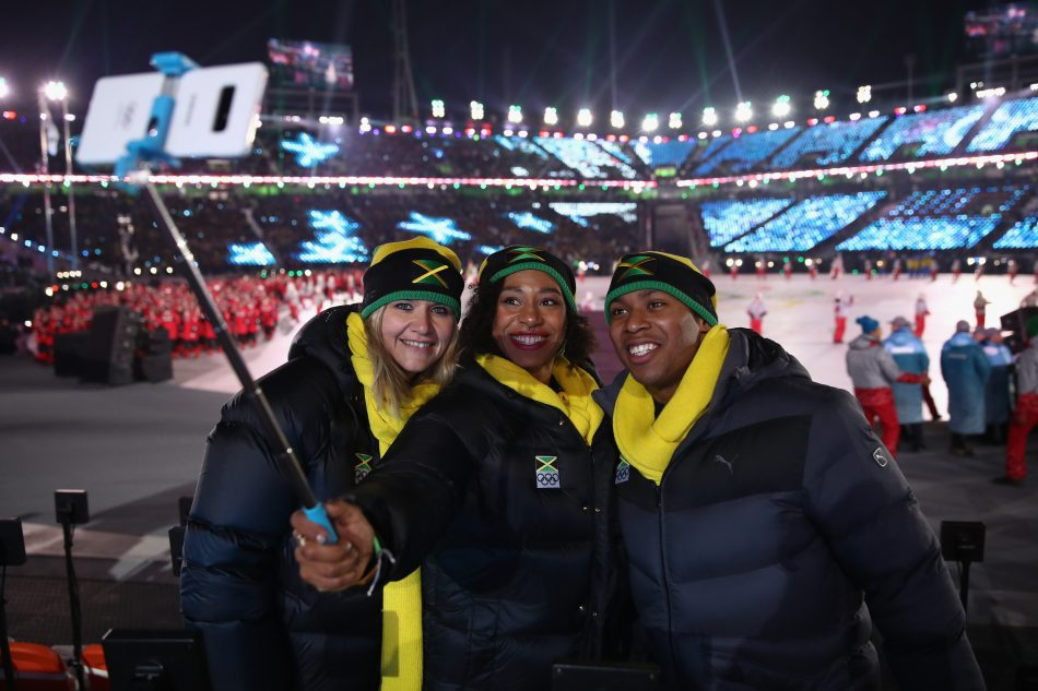 Olympians from Jamaica at the Olympic Winter Games PyeongChang 2018 Opening Ceremony