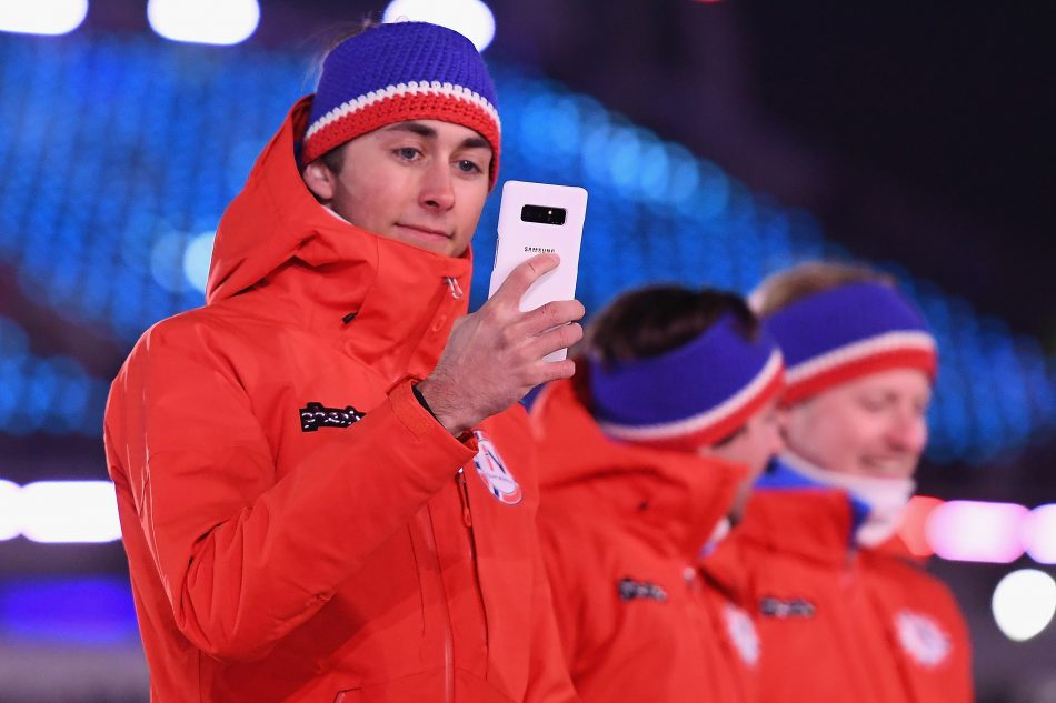 Olympian from The Netherlands captures the spirit and excitement of the Olympic Winter Games PyeongChang 2018 Opening Ceremony on the official Olympic Games phone, PyeongChang 2018 Olympic Games Limited Edition, on Friday, February 9, 2018 in PyeongChang, Korea.
