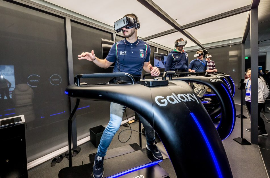 Snowboarder from Italy, Omar Visintin experiences simulated Olympic Snowboarding through 4D motion virtual reality at the Samsung Olympic Showcase in Gangneung Olympic Park in South Korea. The film is displayed through the Samsung Galaxy smartphone and compatible Gear VR.