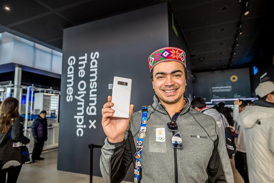Six-time Olympian from India, Shiva Keshavan poses for a photo with his PyeongChang 2018 Olympic Games Limited Edition at Samsung Olympic Showcase in Gangneung Olympic Park in South Korea. In collaboration with the International Olympic Committee (IOC), Samsung presented over 4,000 devices to all Olympians, allowing them to capture and share through Samsung mobile technology to enhance their Games-Times experiences.