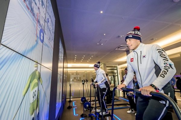 Team members from the South Korea Men's National Ice Hockey team show off their skills with winter sports skills by participating in the Galaxy Fitness Alpine Skiing at the Samsung Olympic Showcase in Gangneung Olympic Park in South Korea.