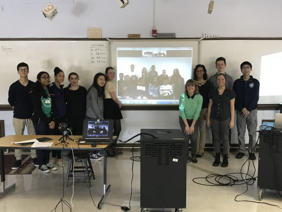 Students from the Northwest Pennsylvania Collegiate Academy in Erie, Pennsylvania and International School of Tunis from Tunis, Tunisia work on their Samsung Global Classroom STEAM Challenge project using a virtual classroom platform developed by IVECA.