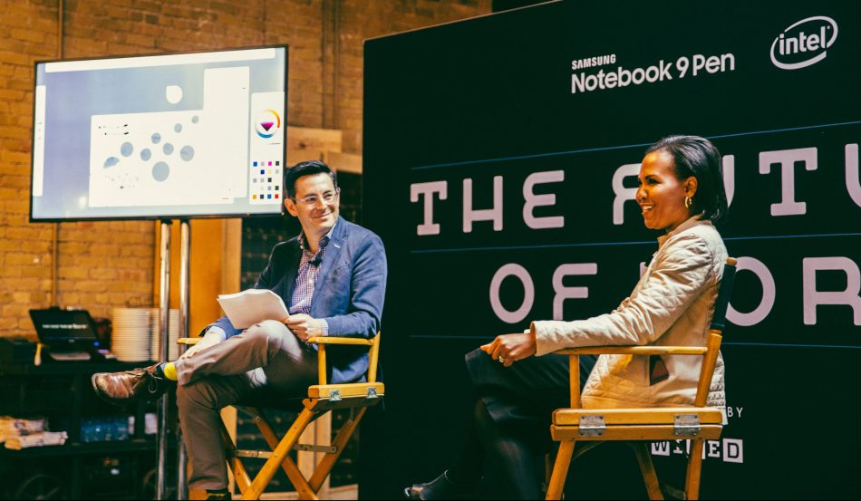 Alanna Cotton (right), senior vice president and general manager at Samsung Electronics America, speaks about the future of work with Jason Tanz(left), Wired magazine site director, at the SXSW Conference in Austin, TX. (Credit: Pooneh Ghana)