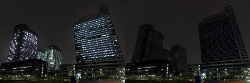 Digital City, Suwon, before (left) and after (right) lights-out