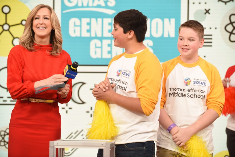 Good Morning America co-anchor, Lara Spencer, announced that Thomas Jefferson Middle School in Winston-Salem, N.C. was a grand prize winner of the Samsung Solve for Tomorrow Contest