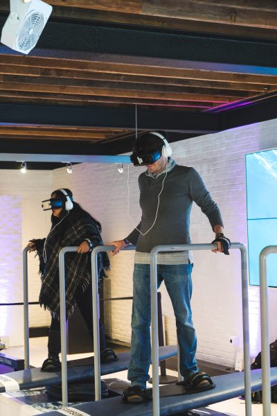 Guests try out the Anatomy of Ski VR installation.