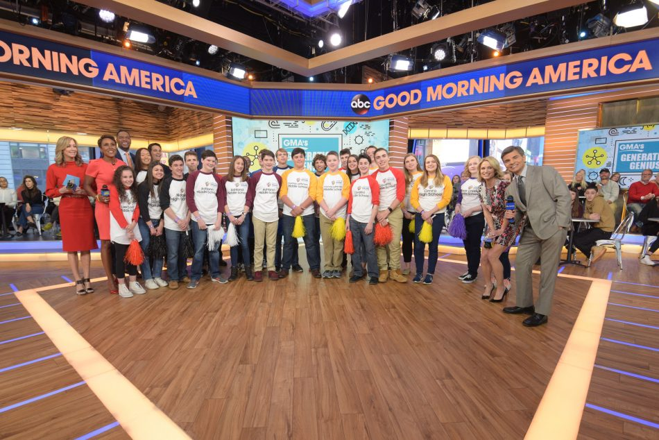 Good Morning America co-anchors Robin Roberts, George Stephanopoulos, Lara Spencer and Michael Strahan congratulated the top 10 finalists of the 2017-2018 Samsung Solve for Tomorrow Contest