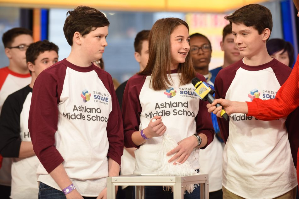 A team from Ashland Middle School in Ashland, Ky. was interviewed live on Good Morning America after becoming one of the grand prize winners of the Samsung Solve for Tomorrow Contest