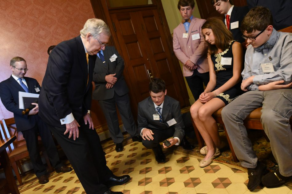 Senate Majority Leader Mitch McConnell meets with students from Ashland Middle School