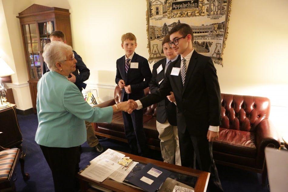 Congresswoman Virginia Foxx meets winners from Thomas Jefferson Middle School