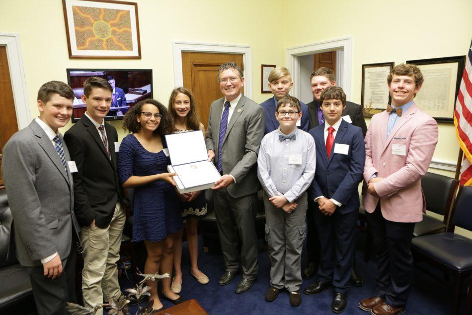 Congresswoman Virginia Foxx met with winners from Thomas Jefferson Middle School