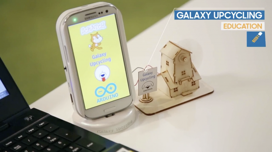 Samsung Galaxy Upcycling Education app image on a mobile device