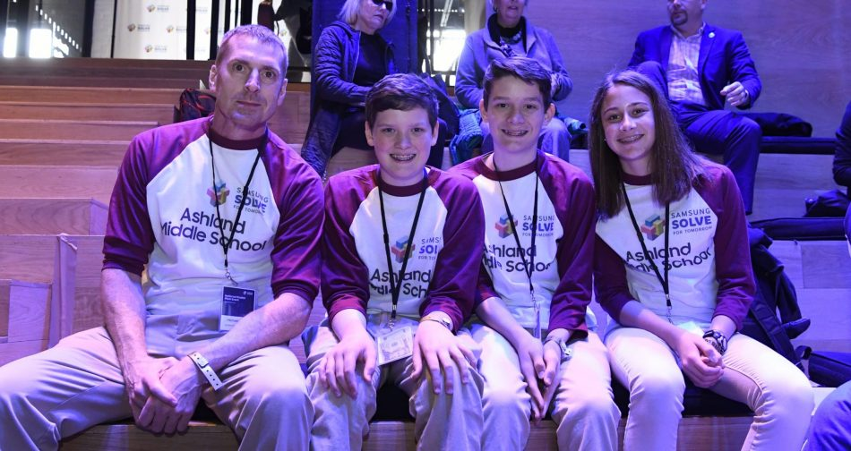 Teacher Michael Polley and his students, Isaac Campbell, Caleb Campbell, and Aubree Hay from Ashland Middle School in Ashland, KY won the Samsung Solve for Tomorrow Contest, granting their school $170,000 in technology.