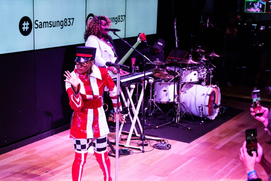 Janelle Monáe performs at the Galaxy Note9 retail launch celebration at Samsung 837