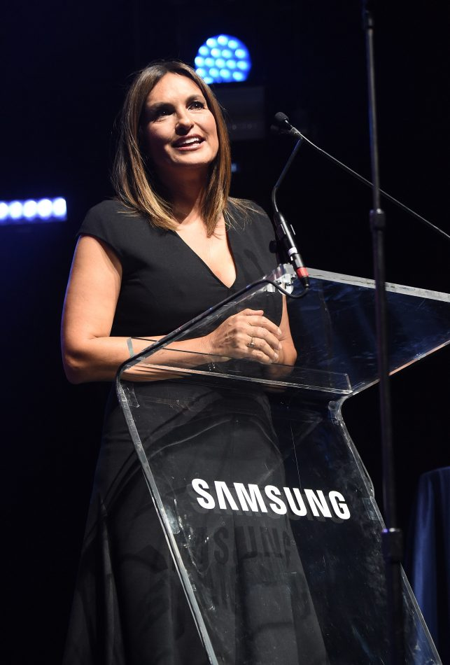 NEW YORK, NY - SEPTEMBER 27: Mariska Hargitay speaks onstage at the Samsung Charity Gala 2018 at The Manhattan Center on September 27, 2018 in New York City. (Photo by Kevin Mazur/Getty Images for Samsung)