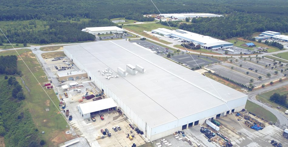newberry manufacturing plant areal view roof
