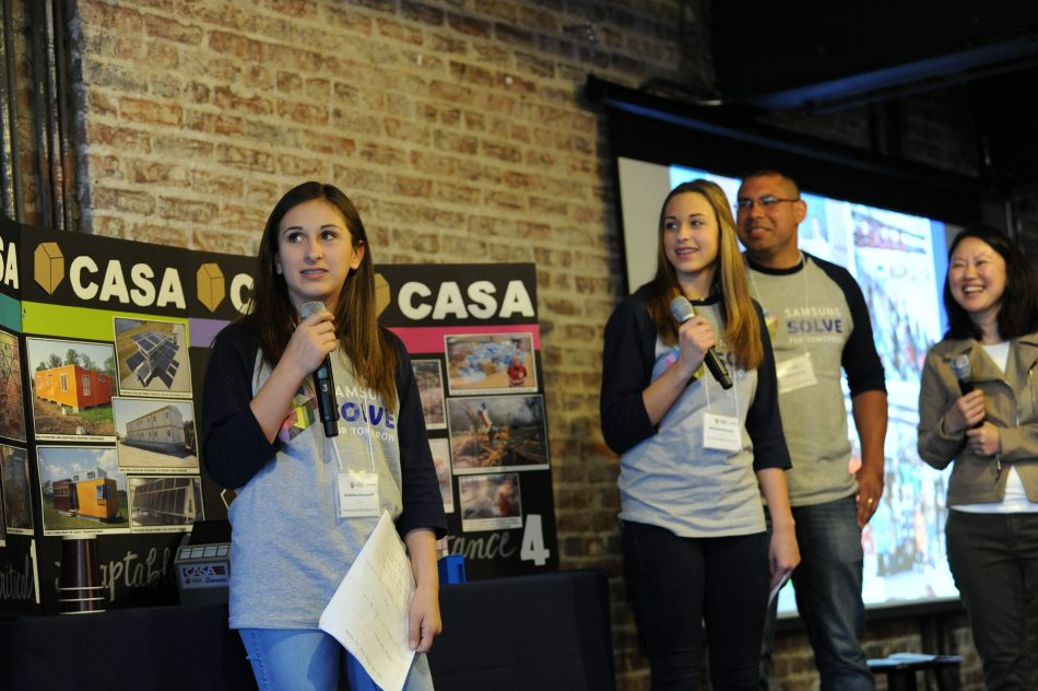 Students Arianna B. and Brianna R. of Crownover Middle School in Corinth, Texas, present their STEM project – temporary natural disaster relief housing for those in need – during the Samsung Solve for Tomorrow 2017 National Finalist Pitch Event in Washington, D.C.