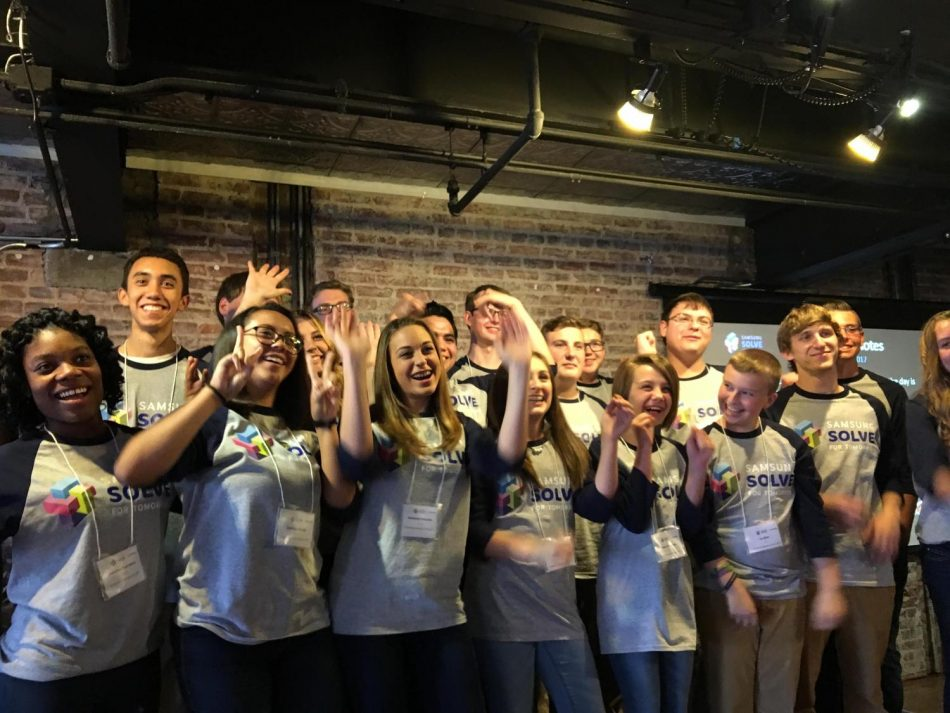 Student members of the Solve for Tomorrow 2016-17 National Finalist teams get ready to present their STEM project prototypes to a judging panel at the pitch event in Washington D.C.
