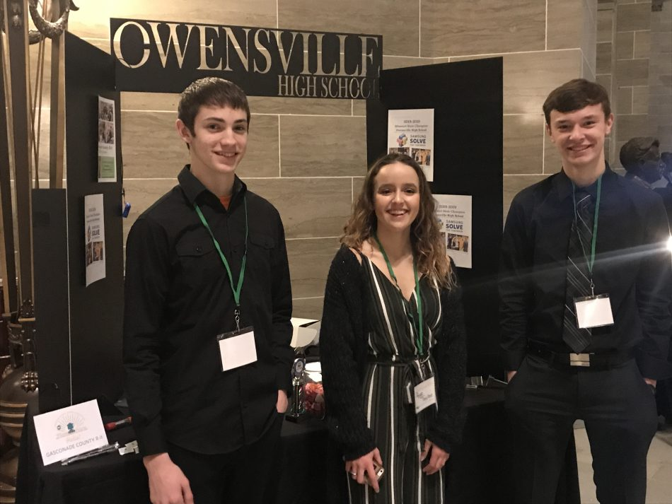 The team from Owensville High School, in Owensville, MO (Jonah H., left, Paige T., center, and Trey F., right) is one of 10 national finalist teams in the 2019 Samsung Solve for Tomorrow STEM contest, tapped for their one-piece steel lock that quickly secures a classroom against an armed intruder. Photo credit: Kevin Lay.