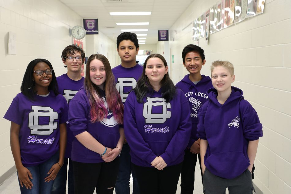 The Solve for Tomorrow team from Deep Creek Middle School in Chesapeake, VA, one of 10 national finalist teams in the 2019 Samsung Solve for Tomorrow STEM contest, created a website and mobile app that matches community resources with students who need glasses.