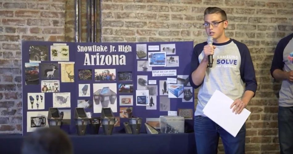 Snowflake Arizona Junior High School Student pitches his team's STEM idea at the Solve for Tomorrow pitch event in 2017