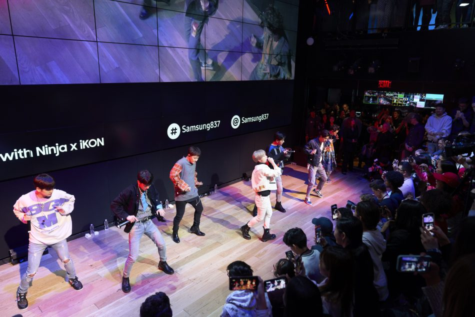 K-Pop sensation iKON perform at Samsung 837 to celebrate the launch of highly coveted iKONIK outfit and Scenario emote available now within Fortnite on the Galaxy S10 line