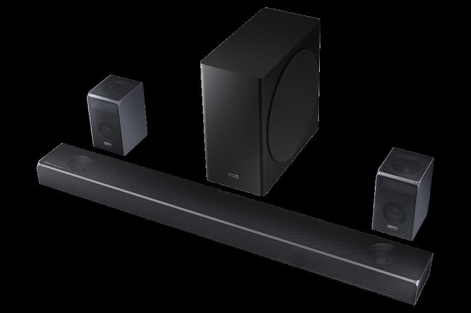 Samsung Q Series Soundbar Line HW-Q90R_003_Set-R-Perspective2_Carbon Silver