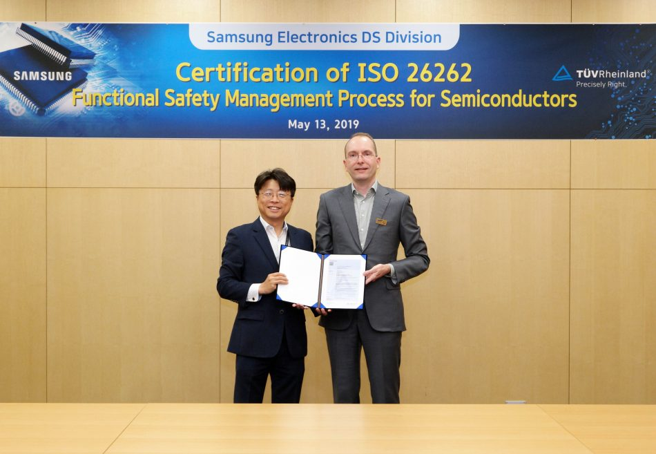 Samsung Electronics announced that it has received the ISO 26262 certification for functional safety in automotive components from TÜV Rheinland, a globally renowned third-party testing, inspection and certification company.