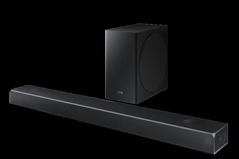 Samsung Q Series Soundbar HW-Q80R_002_Set-R-Perspective_Carbon Silver