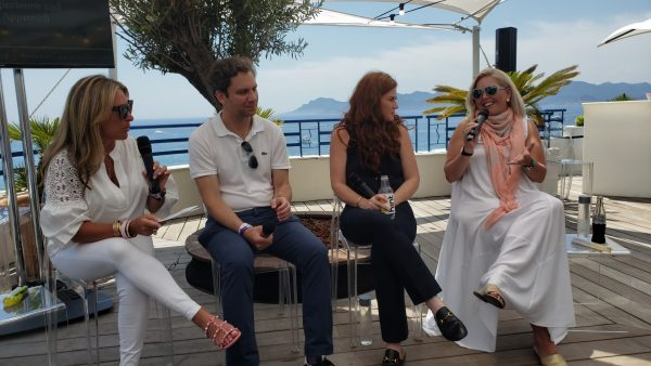 Shelly Zalis, CEO, The Female Quotient (moderator), Harry Kargman, CEO, Kargo, Kara Goldin, Founder and CEO of Hint and Michelle Crossan-Matos, VP of Strategy and Transformation at Samsung Electronics America speak at Cannes Lion 2019