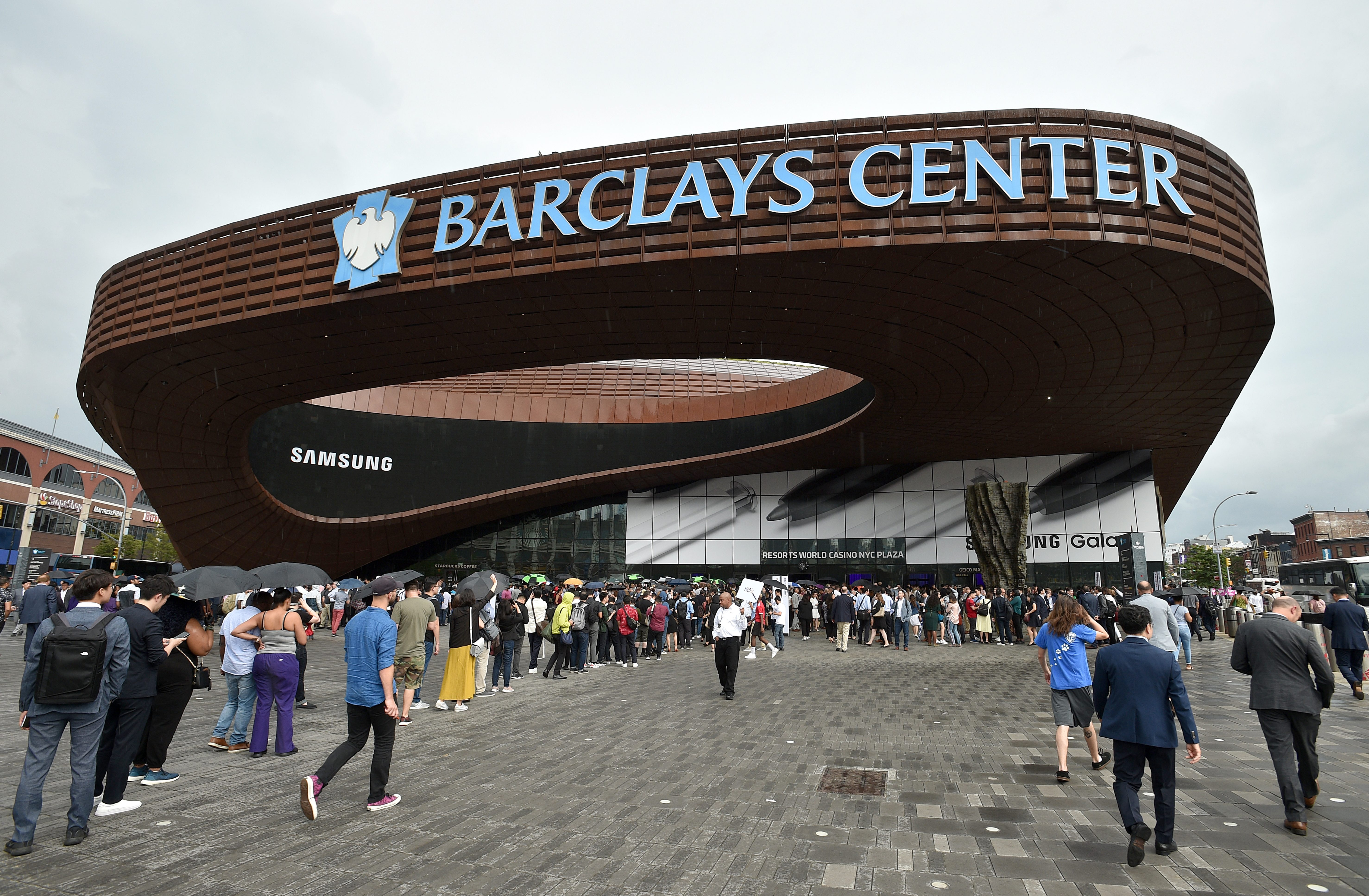 An outside view of the Barclays Center during Samsung Unpacked New York City at Barclays Center at Barclays Center on August 07, 2019 in New York City. (Photo by Bryan Bedder/Getty Images for Samsung)