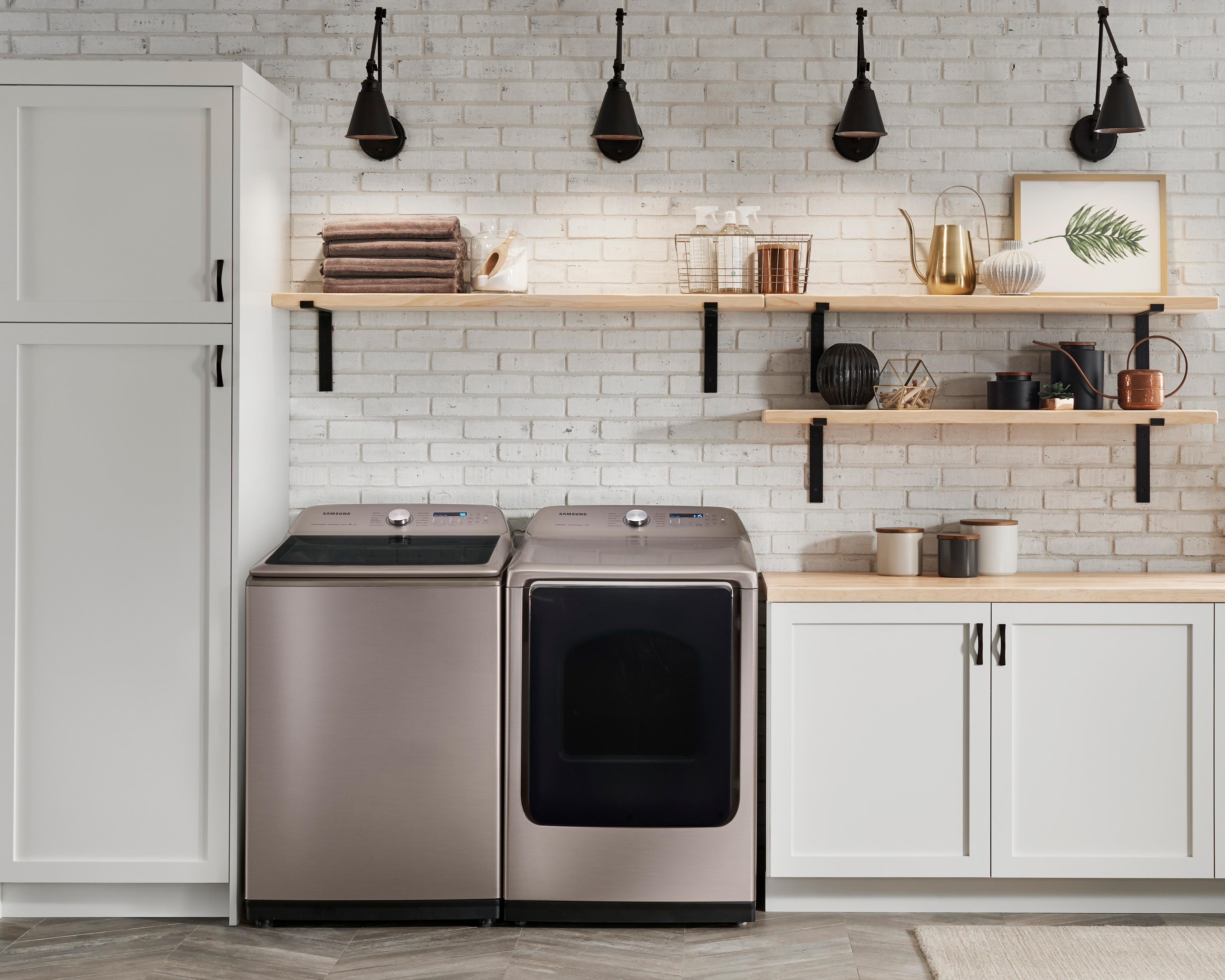 Samsung Top Load Washer (WA54R7600) and dryer with Champagne finish